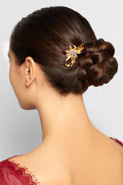Gold-tone faux pearl hairclip