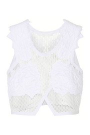 Cropped brocade-appliquéd mesh top