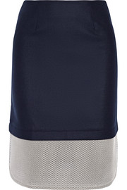 Tabley mesh-paneled brushed wool-blend skirt