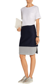 Tabley mesh-trimmed brushed wool-blend skirt