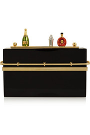 Mini Bar gold-tone and Perspex clutch
