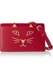 Feline textured-leather shoulder bag