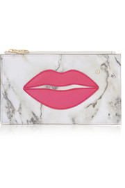 Charlotte Olympia Pouty appliquéd leather pouch