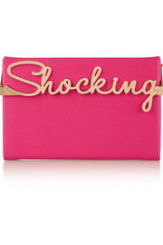 Shocking Vanina textured-leather box clutch