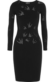 McQ Alexander McQueen Swallow perforated stretch-jersey mini dress