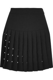 Studded crepe mini skirt