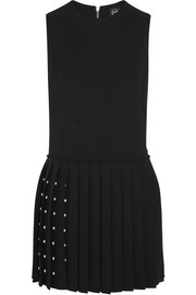 Studded crepe mini dress