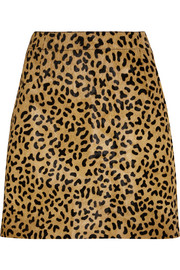 Leopard-print calf hair mini skirt