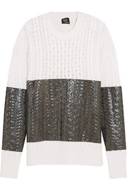 McQ Alexander McQueen Glitter-coated cable-knit wool sweater