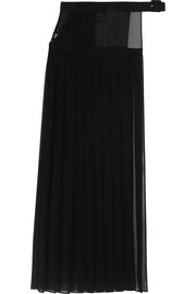 Asymmetric pleated georgette maxi skirt
