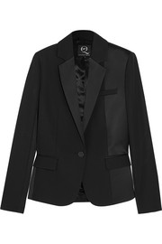 Brushed satin-paneled wool tuxedo jacket