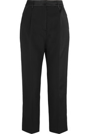 McQ Alexander McQueen Cropped satin-paneled wool-crepe straight-leg pants