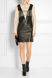 Studded two-tone leather dress