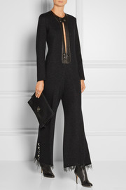 Metallic leather-trimmed wool-blend jumpsuit