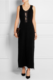 Leather-trimmed knitted gown