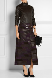 Patchwork textured-leather and suede wrap skirt