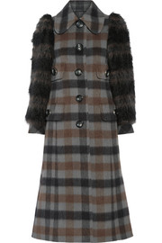 Faux fur-paneled plaid wool and alpaca-blend coat