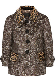 Calf hair-trimmed metallic jacquard jacket