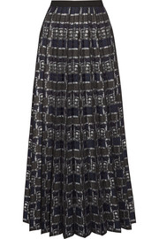 Pleated metallic-jacquard maxi skirt