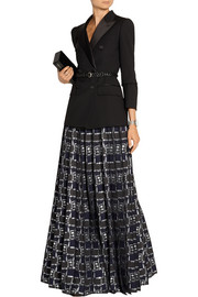 Pleated metallic jacquard maxi skirt
