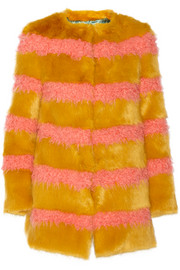 Bobbin striped faux fur coat