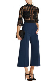 Cropped guipure lace and crepe jumpsuit