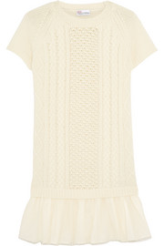 Point d'esprit tulle-paneled wool mini dress