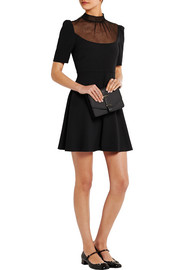 Swiss-dot tulle-paneled crepe mini dress