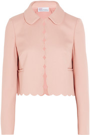 Cropped scalloped stretch-twill jacket