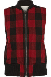Plaid wool-blend vest
