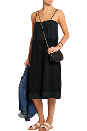 Sola cutout georgette and silk-crepe dress