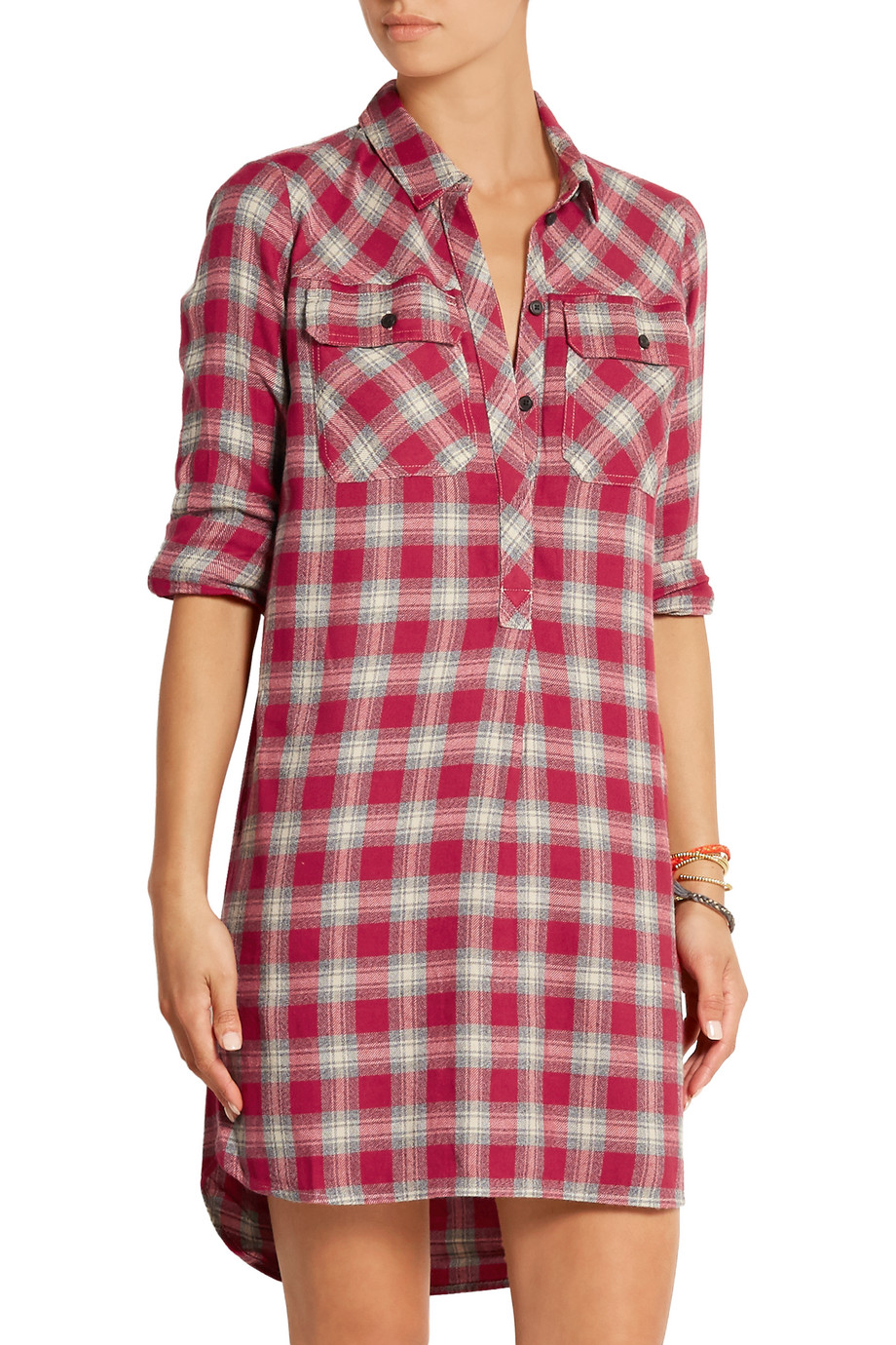 Madewell Plaid Cotton-Blend Shirt Dress, Red, Women's