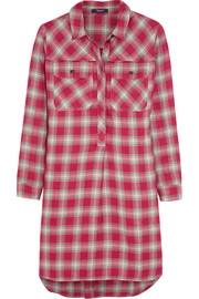 Plaid cotton-blend shirt dress