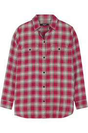 Ex-Boyfriend plaid cotton-blend shirt