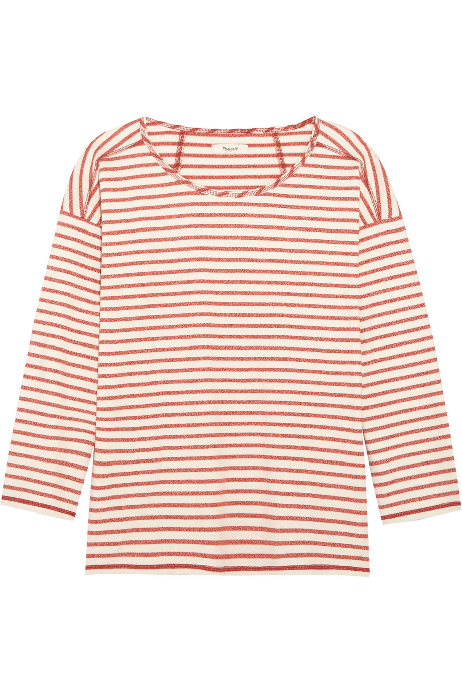 Madewell Gloria Striped Cotton-Jersey Top, Red/White, Women's, Size: L