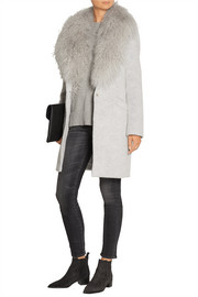 Iris shearling-trimmed knitted coat