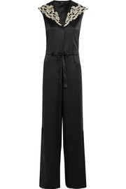 Embroidered silk-blend satin jumpsuit