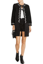 The Walker embroidered suede coat