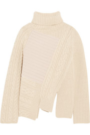 Asymmetric contrast-knit wool turtleneck sweater