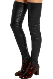 Miles matte and patent-leather thigh boots