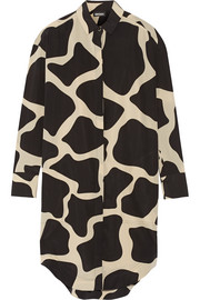 Printed stretch-silk shirt dress