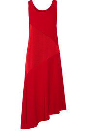 Asymmetric paneled satin and crepe midi dress