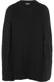 Bouclé-paneled ribbed wool-blend poncho