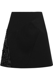 Embellished jersey, satin and mesh-paneled mini skirt