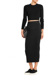 Ribbed wool-blend skirt
