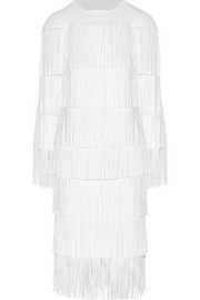 Cutout fringed stretch-cady dress