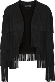 Fringed stretch-cady jacket