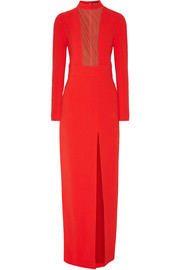 Mesh-paneled stretch-crepe gown