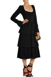 Tiered stretch-wool crepe dress