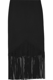 Fringed stretch-cady midi skirt